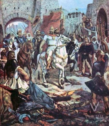 scanderbeg_winer_of_battle___painting__1974__by_eduartinehistorise-d8436al