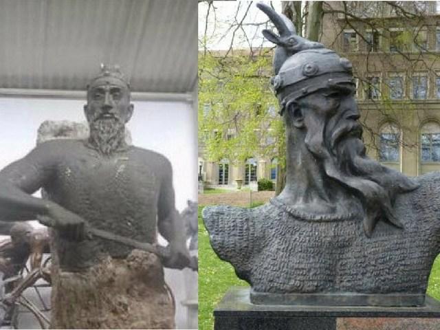 Statuja-e-Skënderbeut-e-prezantuar-nga-ambasadori-në-Hungari-majtas-dhe-mënyra-si-portretizohet-zakonisht-heroi-djathtas-Foto-TwitterWikimedia